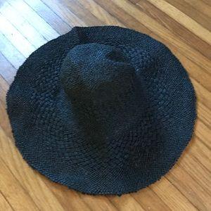 Zara black wide brim beach hat